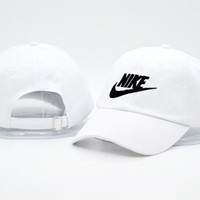 Unisex White NIKE Embroidered Baseball Cap Hat