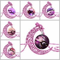 Pokemon Go ROSE Red Wiccan Moon Pendant Necklace