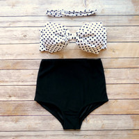 Bow Bandeau Bikini - Vintage Style High Waisted Pin-up Swimwear -  Black and White Polka Dot - Unique & So Cute!