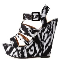 Black/White Strappy Ikat Print Wedge Sandals by Charlotte Russe