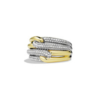 Labyrinth Double-Loop Ring with Diamonds and Gold - David Yurman
