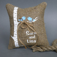 Wedding rustic natural linen Ring Bearer Pillow Blue birds on white birch tree and linen rope