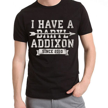 Black I Have A Daryl Addixion Tee, The Walking Dead T-shirt, 100% Cotton T-shirt, Unisex Tee, Normal Cut, Screenprinted Tees, Handprinted