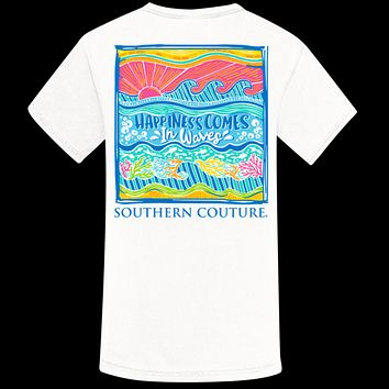 Southern Couture Happiness Comes in Waves Comfort Colors T-Shirt