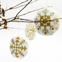 set of 3 stuffed linen gold and white snowflake ornaments with aromatic wildflower tea stuffing