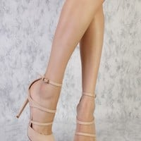 Nude Strappy Side Buckle Single Sole Pointy Toe Faux Sued