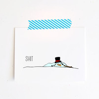 funny Snowman holiday greeting card naughty Christmas winter xmas blue shit friend family simple melted snowman frosty white A2 folded
