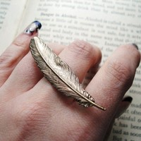 Two Finger Ring, Feather in Antiqued Brass, Double Finger, Statement Jewelry