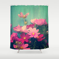 Pink Cosmos Shower Curtain by Olivia Joy StClaire