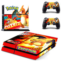 For PokeMon Vinyl Decal Skin For Sony playstation 4 Console +2 controllers Stickers For PS4-0216