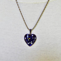 Vintage Glass Heart Necklace with Crescent Moon and Stars, Sterling Silver