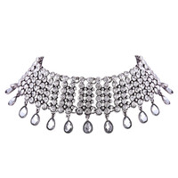 Silver Multilayer Crystal Drop Choker Necklace
