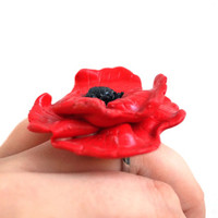 Poppy Flower Ring, Polymer Clay Adjustable Ring, Red Poppy ,Beautiful  Unique Handmade Ring