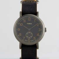 Timex Weekender Oversized Chronograph Watch In Black