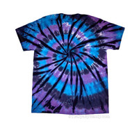 Tie Dye Shirt/ Made to Order/ Moon Shadow Spiral/ Blue, Purple, Black