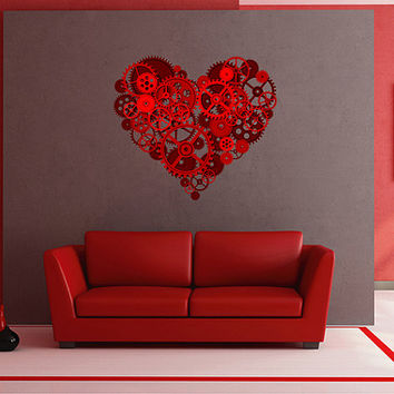 kcik1493 Full Color Wall decal Mechanical heart steampunk living room bedroom