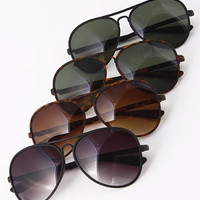 Thin Frame Oversized Aviator Sunglasses - Black/Black, Black/Green, Tortoise/Green or Tortoise/Brown