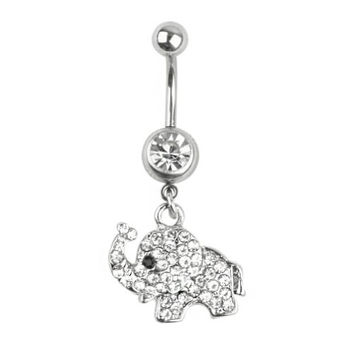 316L Steel Rhinestone Elephant Dangle Navel Belly Button Ring Bar