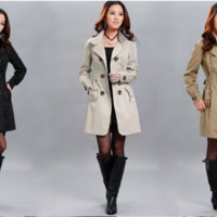 2014 New Women's Classic Long Trench Coat