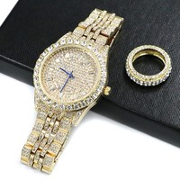 HIPHOP RAONHAZAE JAY Z GOLD FINISHED LAB DIAMOND WATCH & RING SET.