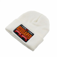 DSQUARED2 BURNIN CANADA Beanie Knitted Cotton Elastic Mens & Women's Casual Warm Winter White Cuffed Skully Hat