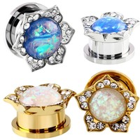 Stainless Steel Ear Stretchers Plugs And Tunnels Natural Stone Opals Crystal Ear Plugs Body Piercing Jewelry