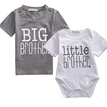 Baby Little Brother Boy Romper Big Brother T-shirt Cotton Clothes Outfits