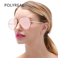 POLYREAL Women Rimless Aviation Sunglasses Men Fashion Mirror Pilot Sun Glasses For Male Driving Fishing Night Vision Goggles