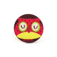 SALE Owl ring - bird ring - large fabric ring - big button ring - adjustable ring - kawaii ring red yellow brown funny crazy cute unique