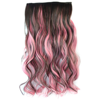 5 Cards Wig Piece Hair Extension Highlights    dark brown rouge pink bleach and dye