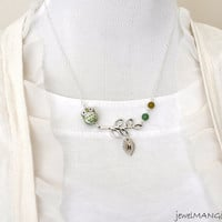 cute ceramic owl on leaf branch necklace in silver, beaded green owl necklace,Personalized Cute owl initial necklace