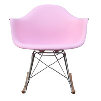 Mid Century Modern Plastic Molded Rocking Chair Pink