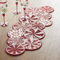 Peppermint Candy Cane Beaded Table Runner