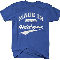 Shirts By Sarah Men's Made In Michigan T-Shirt Since 1837 State Pride Shirts
