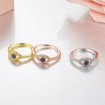 SLJELY Real 925 Sterling Silver Evil Eye Finger Rings Micro Pave Cubic Zirconia 3 Gold Colors Women Fashion Brand Design Jewelry