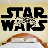 STAR WARS Wall Decal Sticker Vinyl Silhouette Logo and Xwing X Wing Fighter Art Decor