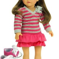 Doll Clothes 18 Inch Size Fits American Girl Dolls 3 Pc. Set, Pink & Gray Striped Shirt, Pink Skirt & Doll Sneakers