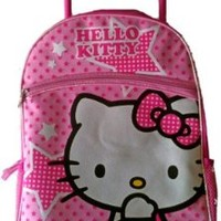 "16"" Hello Kitty Large Rolling Backpack with Pink Stars"