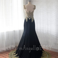 Black Mermaid Prom Dress Gold Applique Scoop Neckline/Long Prom Dresses 2015/Black Tulle Satin Prom Dress/Party Dress/Special Occasion Dress