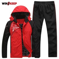 Keep Warm Sport Suit Men Fleece Lining Zipper Pocket Mens Sportswear Set Thermal Winter Outdoor Workout Running Jogging Suits