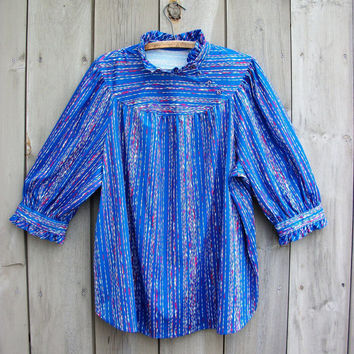 Vintage plus-size top - royal blue striped shirt with ruffle detail