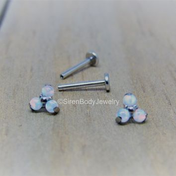 White opal cluster earrings 16g titanium flat back labret studs helix ear conch cartilage cluster earring