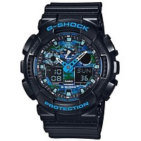 Casio Mens G-Shock Ana-Digi - Black Case & Rubber Strap - Blue Camo Dial