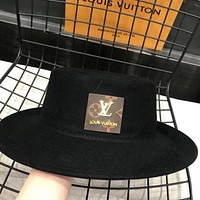 LV Louis Vuitton pure wool flat top hat retro top hat casual all-match jazz hat Black