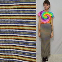 90s Ribbed Skirt Striped Large XL Bodycon Soft Grunge Long Tight Slit Vintage Women's Clothing Cute Stretchy Gray Tan White