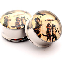 Vintage Cats with Umbrellas Picture Plugs gauges - 00g, 7/16, 1/2, 9/16, 5/8, 3/4, 7/8, 1 inch