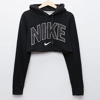 Nike Popular Women Casual Print Long Sleeve Hoodie Crop Top Sweatshirt Pullover Top