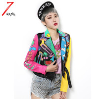 2016 New Fashion Spring Women Punk Graffiti Street Short Leather Jackets Pu Contrast Color Zippers Long Sleeve Motorcycle Coat