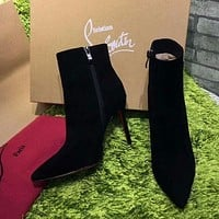 DCCK Christian Louboutin CL Top Suede Ankle Boot Black