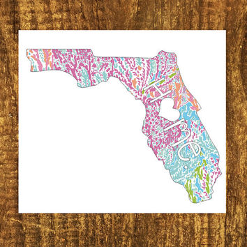 LILLY PULITZER Florida Home Decal | Florida State Decal | Homestate Decals | Love Sticker | Love Decal | Car Stickers | Bumper | 049